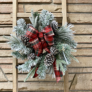 Mini Flocked Wreath with Red & Green Plaid Bow