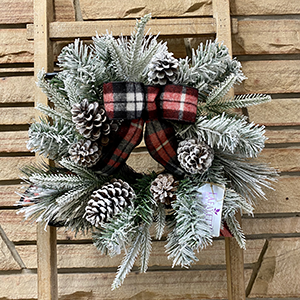 Mini Flocked Wreath with Black & Red Plaid Bow
