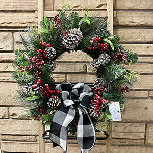 Berries & Pinecones Wreath with Black & White Plaid Bow
