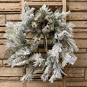 Flocked Wreath with Pinecone Bow