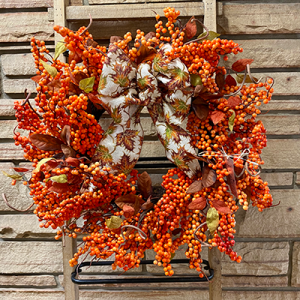 Harvest Berry Wreath with Autumn Leaf Bow